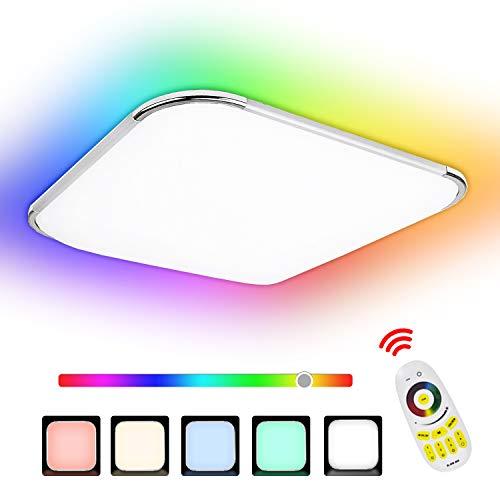 Hengda 36W RGB LED Deckenleuchte, Dimmbar Deckenlampe 6500K, Spritzwasser geschützt IP44, für Kinderzimmer, Schlafzimmer, Wohnzimmer, Balkon, Küche, Flur, ersetzt 200W Glühlampe