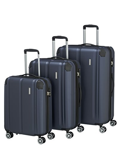 """Travelite Leicht, flexibel, sicher: """"City""""-Hartschalenkoffer für Urlaub und Business (auch mit Vortasche) Koffer-Set, 77 cm, 231 Liter, Marine"""
