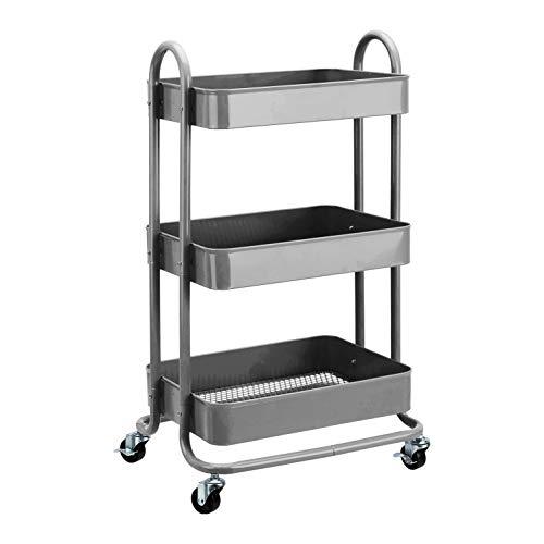 AmazonBasics – Werkzeug- oder Küchenrollwagen, 3Ebenen, Anthrazit