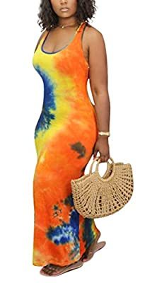 Material- Polyester & Spandex, sexy tie dye tank dress is soft, bodycon, high stretch and not see through. Feature- Scoop neck, sleeveless, colorful tie dye print, maxi length, bodycon slim fit women summer sundress Design- The sexy floral pattern an...
