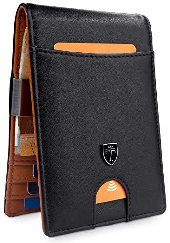 TRAVANDO  Geldbeutel mit Geldklammer Rio - TÜV geprüft - Slim Design - 7 Kartenfächer - RFID Schutz - Ohne Münzfach - Das Original - inklusive Geschenk Box - Designed in Germany, Slim, Schwarz
