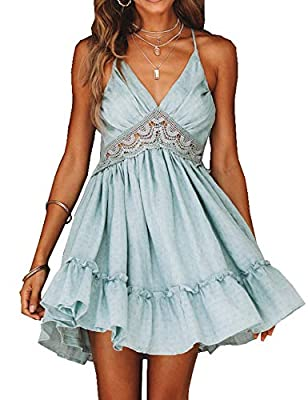 This lace mini dress with nice quality,breathable,soft,light weight and comfortable Features: lace floral pattern,v neck,spaghetti straps,backless,ruffles trim,pleated,skater swing dress.This mini dress designed with ruffle and lace detailing, back i...