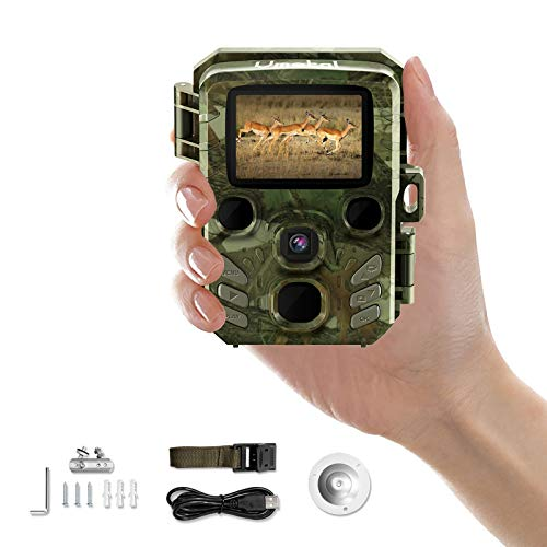 Mini Trail Camera Game Cam with Night Vision Motion Activated Waterproof Wildlife Hunting Monitoring 1080P HD 16MP IR LEDs Infrared Hunting Cam with 2' LCD, 0.4s Trigger Time for Outdoor Deer Scouting