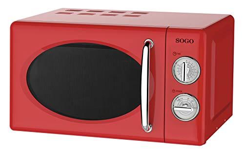 SOGO HOR-SS-890-R SS-890-R Mikrowelle im Retro-Stil, Vintage-Mikrowelle, 20 Liter, 5 Leistungen, 700 Watt, Rot, Einheitsgröße