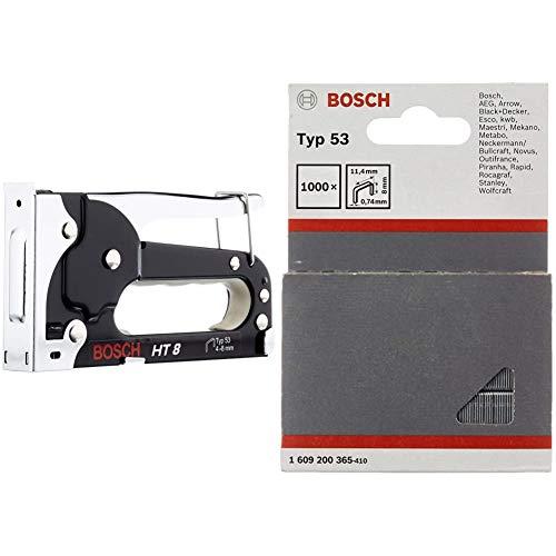 Bosch 0603038000 Graffatrice Manuale HT 8, Graffe Tipo 53, 4-8 mm & 1609200365 Graffe Tipo 53, 11.4 x 8 mm