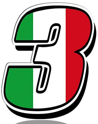 Biomar Labs® Número 3 Bandera de Italia Nacional Italy Calavera Vinilo Adhesivo Pegatina Coche Auto Motocross Moto Sport Start Racing Tuning N 313
