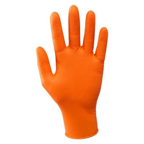 Guanti In Nitrile Grease Monkey – Taglia L Colore Arancio Cf. 10 Pz