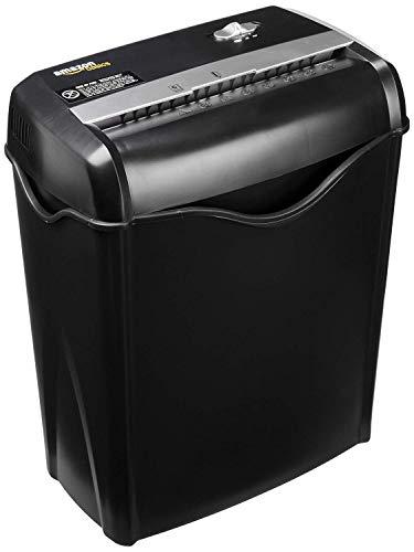 AmazonBasics - Distruggidocumenti 5-6 fogli, taglio incrociato, con funzione distruggi carte di credito e cestino estraibile