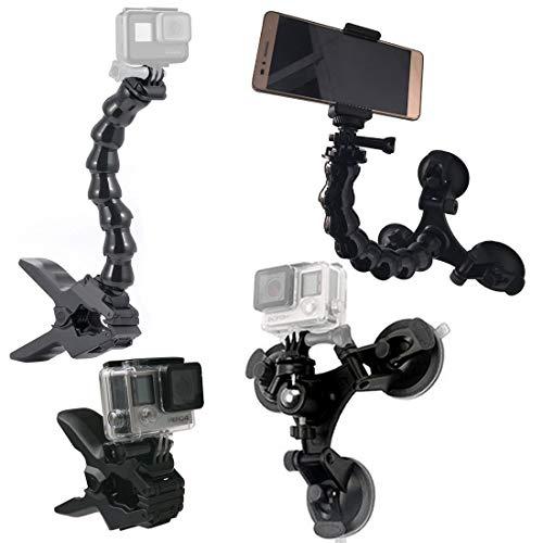 GreatCool Auto Treppiede Ventosa con Testa a Sfera 360°+ Jaws Flex Clamp Mount + Collo d' oca Braccio Fissaggio per Action Cam,GoPro Fusion Hero 7 6 5 Session 4K Macchina Fotografica Camera Smartphone