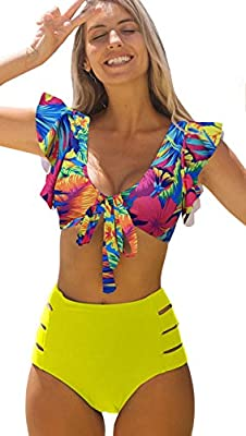 WOMEN RUFFLE SWIMSUIT: Ruffle sleeves collocate with V Neck design,fully lining,tie on the front,removable pads HIGH WAISTED BOTTOM :High waisted swimsuits with wide straps, nice elasticity at waist easy for you wear, and it's high cut style make you...