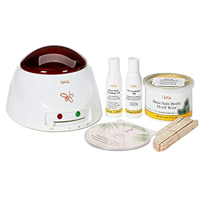 Complete Waxing System for Salon or Home: This GiGi Brazilian Hair Removal Waxing Kit has everything you need to remove unwanted hair! This kit includes professional wax warmer, Brazilian hard wax, pre-epilation oil, post-wax cooling gel, and applica...