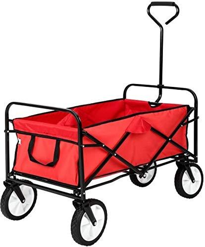 Maxx Bollerwagen - Transportwagen Ausziehbarer Griff Handwagen Transportkarre Faltbar Gartenwagen Gerätewagen - 93x53x64 cm - Rot