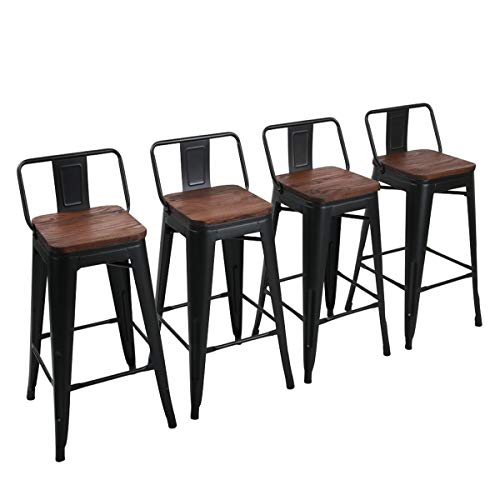Yongchuang 30' Metal Barstools Set of 4 Counter Height Bar Stools with Back Industrial Bar Chairs Matte Black (30' Seat Height, Wooden Top Low Back)