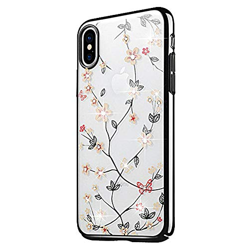 JZWDMD para iPhone XR Funda,para iPhone X Funda Rhinestone Swarovski Elements Parachoques con Borde Suave Bumper Case para Apple iPhone 7 Plus/iPhone 8 Plus,C,iPhone8/7