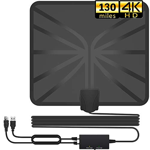 TV Antenna, 2020 Newest Indoor Digital HDTV Amplified Antennas Freeview 4K HD VHF UHF for Local Channels 130+ Miles Range with Switch Amplifier Signal Booster Support All TVs-16.5ft Coax Cable