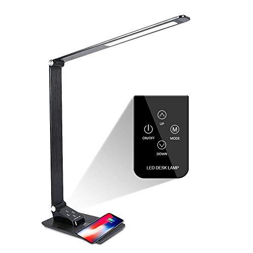 LED Schreibtischlampe Wanjiaone Metall Schreibtischlampe Tageslicht, Tageslichtlampe mit USB Drahtlos Aufladen des Handysmit ,Energieeffizient Eisengrau /5 Helligkeitsstufen & 3 Farbstufen/7W