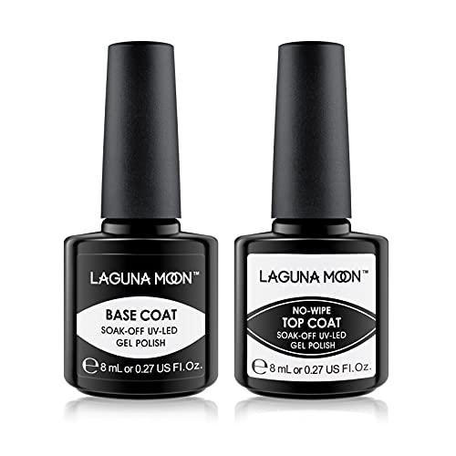 Lagunamoon Gel Nail Polish Base Coat and No Wipe Top Coat Gel Polish Set Soak Off UV LED Nail Varnish Lacquer Manicure Set 2×8ml