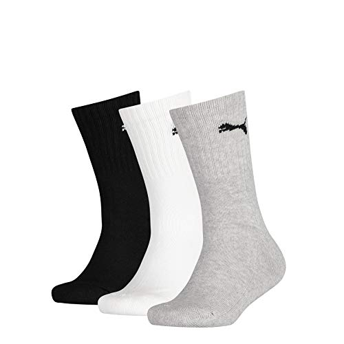 PUMA Junior Sport Socks (3 Pack) Calzini, Grey/White/Black, 31-34 Unisex-Bambini