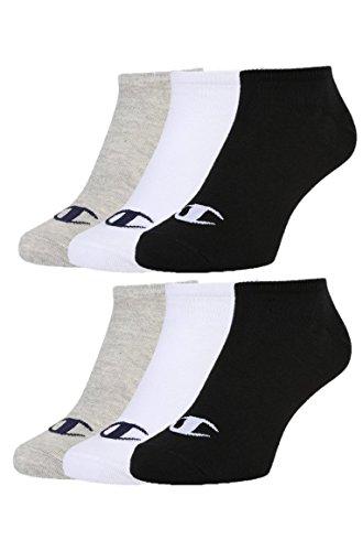 Champion 6pk Sneaker Socken Calzini, Grigio Chiaro/Bianco/Nero, 43-46 (Pacco da 6) Unisex-Adulto