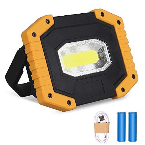 30W LED Arbeitsstrahler, T-SUN Baustrahler Akku tragbares wasserdichter Arbeitslicht mit 2*Wiederaufladbare Batterien, USB, 3 Lichtmodi für Baustelle Garage Werkstatt(1 pack)