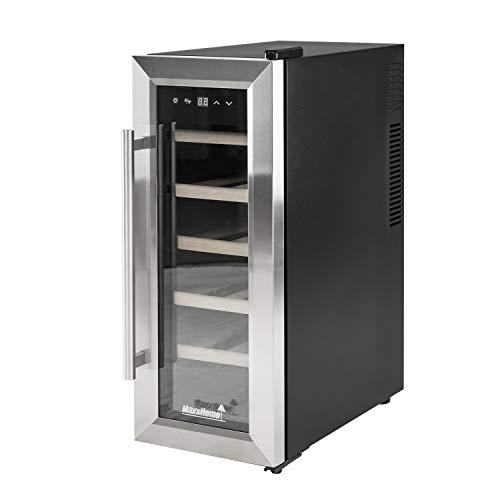 MaxxHome WC12 cave à vin 12 bouteilles, Wine cellar réfrigérant, portes en acier inoxydable, étagères en bois luxueuses, classe énergétique A+, silencieuse, température 7°C – 18°C