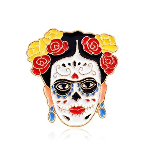 Lagand Artista Frida Kahlo calavera corazón pines insignias broches Halloween moda joyas
