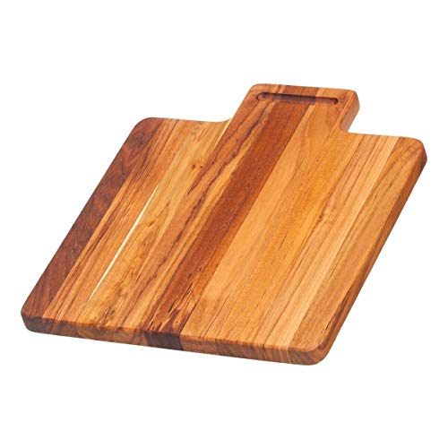 Teak Cutting Board - Chopping Board With Grooved Lip Handle (12 x 10.5 x .75in) - By Teakhaus