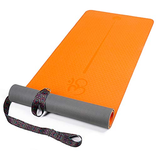 XGEAR Double-deck Yoga Mat with Carrying Strap,Classic Pro Yoga Mat TPE Eco Friendly Non Slip Fitness Exercise Mat,183cm*61cm*0.6cm,for Yoga, Pilates, Sit-Ups, Stretching, Gym, Home