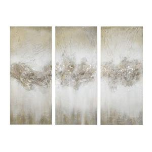 Madison Park Taupe Luminous Wall Art-Canvas Hand Brushed Embellishment Modern Abstract Stretched 3 Piece Set Painting Living Room Décor,