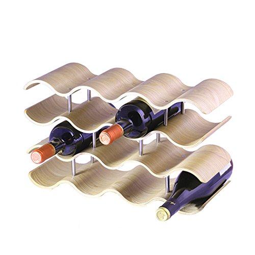 Unho Portabottiglie di Vino in Legno, Cantinetta Vino Staccabile Porta Vino Design Scaffale Portabottiglie 14 Bottiglie per ogni tipo di bottiglia 41,91x15,5x24,4 CM