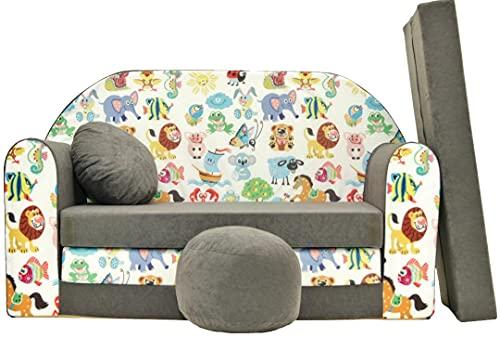 Pro Cosmo, A5,Divano Letto con Pouf/poggiapiedi/Cuscino, in Tessuto, Multicolore, 168x 98x 60cm, per Bambini