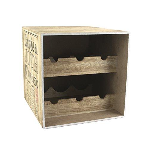 Totally Addict KV7210 - Portabottiglie in Legno per Vino, con 6 Bottiglie, 30 x 33 x 30 cm, Colore:...