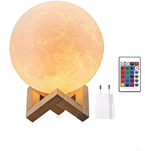 Mond Lampe 3d Druck, Mondlampe Kugel 15cm, Lunalamp mit Fernbedienung, Moonlight Lampe Dimmbar,...