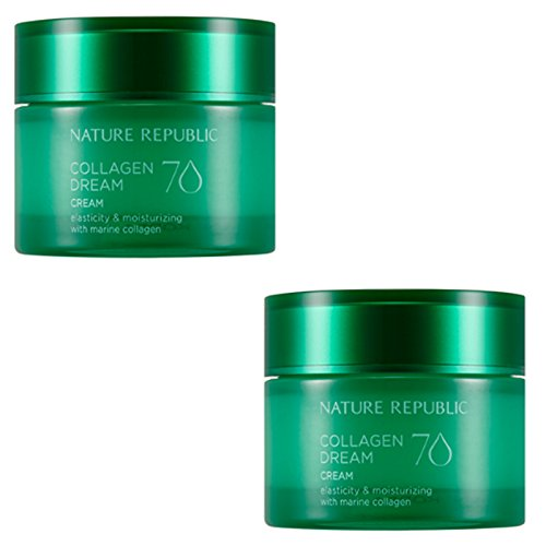 Nature Republic Collagen Dream 70 Cream 50 Ml 1+1 Moisturizing Improve Wrinkle Skin Care Elasticity Marine Collagen Acai Berry Hawaii Cona Deep Sea Water