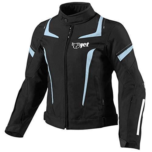 Jet Motorradjacke Damen Mit Protektoren Textil Wasserdicht Winddicht (2XL (EU 42-44), Schwarz)