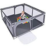 Upgraded Version Baby Playpen,70'' Extra Large Kids Play Yard with gate, Anti-Slip Anti-Collision Child Activity Children Fence ,Sturdy and Safety Indoor Outdoor Play Area for Toddlers
