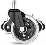 Office Owl Office Chair Wheels Replacement, Set of 5 -Heavy Duty 3' Rubber Chair Casters -Wood & Hardwood Floors