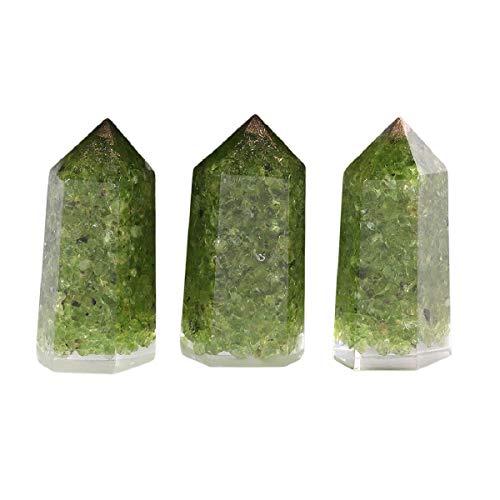mookaitedecor Set of 3 Peridot Healing Crystal Wands 2 Inch,...