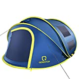 """OT QOMOTOP 4 Person Pop up Tent, 9.5'×7' with 50"""" Center Height, 10 Second Setup Instant Tent, Rainproof Tent, 4 Ventilated Mesh Windows, 2 Mesh Doors, Family Camping Tents(Blue)"""