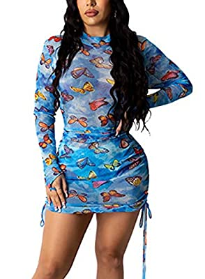 BODYCON LONG DRESS MATERIAL - Polyester and spandex, high quality stretchy fabric, breathable, friendly to skin SEE THROUGH DRESS FEATURE - Bodycon mini dress, sheer mesh see through dress, long sleeve maxi dress, colorful color block pattern, stretc...