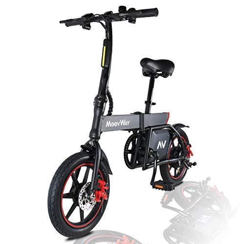 MoovWay Bicicletta Elettrica Pieghevole con Pedali, Sedile Regolabile, Compatta Portatile, velocità...