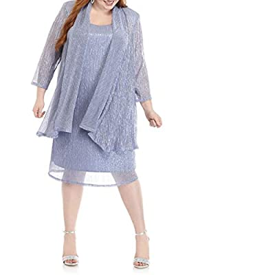 Plus size Two piece Metallic Shimmer jacket dress open front with no closures, three-quarter sleeves Seperate Sleeveless mettalic knit sheath dress , hits at knee Polyester/mettallic Occasion: Plus size mother of the groom formal dresses, mother of t...