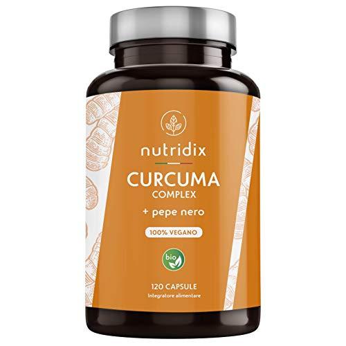 Kurkuma Bio 1300mg Dosierung mit Schwarzem Pfeffer und Ingwer - Starkes Antioxidans und Entzündungshemmend mit 100{6b9274418e2c1e5fe285bde71dabdfd525fa6e637d8e8306303809fd3954cffd} Veganem Curcumin und Piperin - 120 Kapseln Nutridix