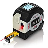 Laser Tape Measure by TickTockTools, 2-in-1, Laser 197Ft/60M, Retractable Tape 16Ft/5M, Digital Distance, Area, Vol, Pythagorean Calculations, DIY Construction, Bright Easy Read LCD, USB Charger