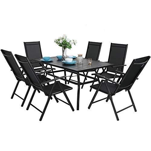 MFSTUDIO 7PCS Outdoor Patio Dining Set, 6 Folding Reclining Chairs, 1 Rectangular Table with 1.57' Umbrella Hole, Lawn Backyard Garden Furniture Sets, Black