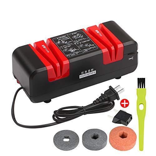 KKmoon Elektrischer Messerschärfer mit 15 Grad Abschrägung und feinen Rillen für gerade gezackte Messer Scheren Küchenschneider mit 3 austauschbaren Schleifscheiben und sauberer Bürste