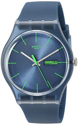 Swatch Herren-Armbanduhr Blue Rebel Analog Quarz SUON700