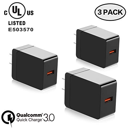 3-Pack 18W Quick Charge 3.0, Qelebet Qualcomm Certified QC3.0 USB Wall Charger, UL Certified Travel Adapter Compatible with iPhone XS/X/8/7/6/Plus/iPad, Samsung, LG, Nexus, HTC and More (Black)