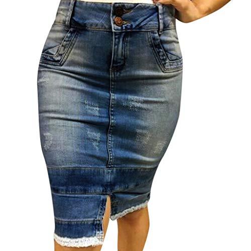 röcke Jeans Damen QIjinlook Damen Jeans Rock midi A-Linie ausgefranst...