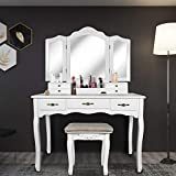 SCYL Color Your Life Tri Folding Mirror Vanity Table Set Dressing Table with Cushioned Stool& 7 Storage Drawer Wood Furniture(Pearl White)